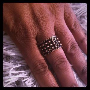 Women's Beaded Copper Tone Ring